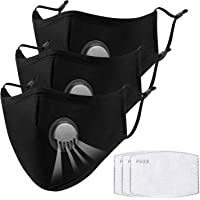 UTOTEBAG 3Pcs Cloth Face Masks with Valve, Reusable & Washable & Breathable Masks for Daily Wearing, Black