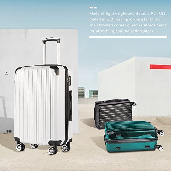 ced8860252f Amazon.com   Coolife Luggage Expandable 3 Piece Sets PC+ABS Spinner Suitcase  20 inch 24 inch 28 inch (white grid)   Luggage Sets