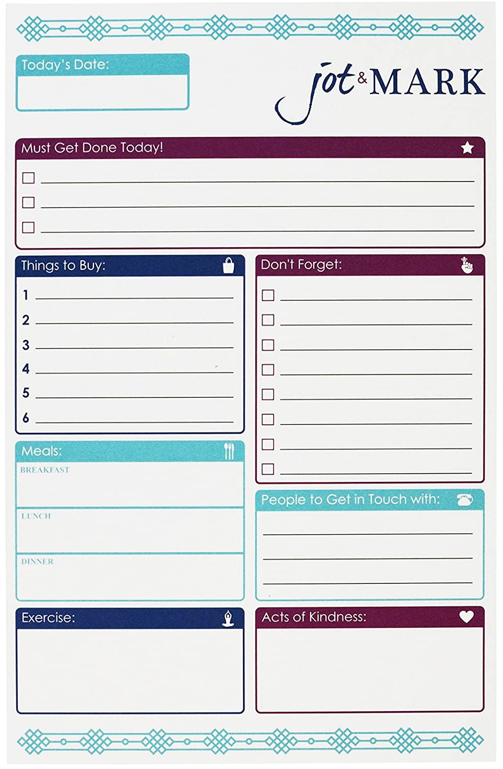 Goals, Tasks, Meals, and Workout Planner To-Do Pad