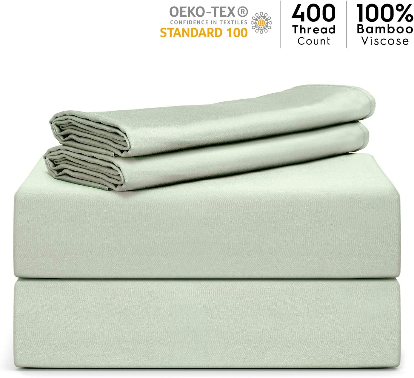 """Tafts Bamboo Sheets King Size - 100% Pure Organic Viscose Bamboo Sheet Set - 400TC Bamboo Bed Sheets - 4 Pieces - 17"""" Deep Pocket - Silk Feel, Cooling, Anti-Static, Hypoallergenic (Sage Green)"""