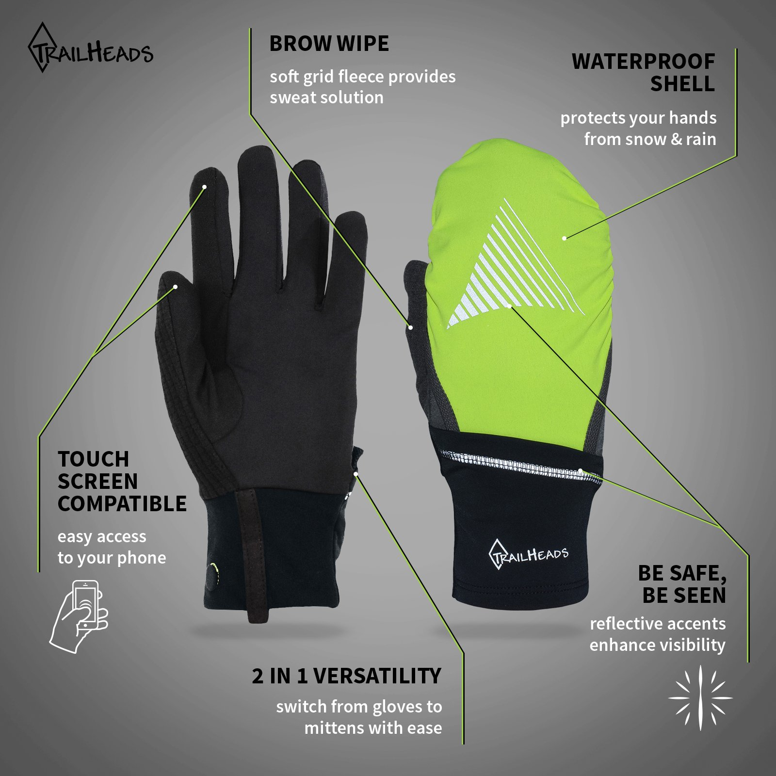 TrailHeads Convertible Running Gloves - black/hi-vis (small/medium) by TrailHeads (Image #2)