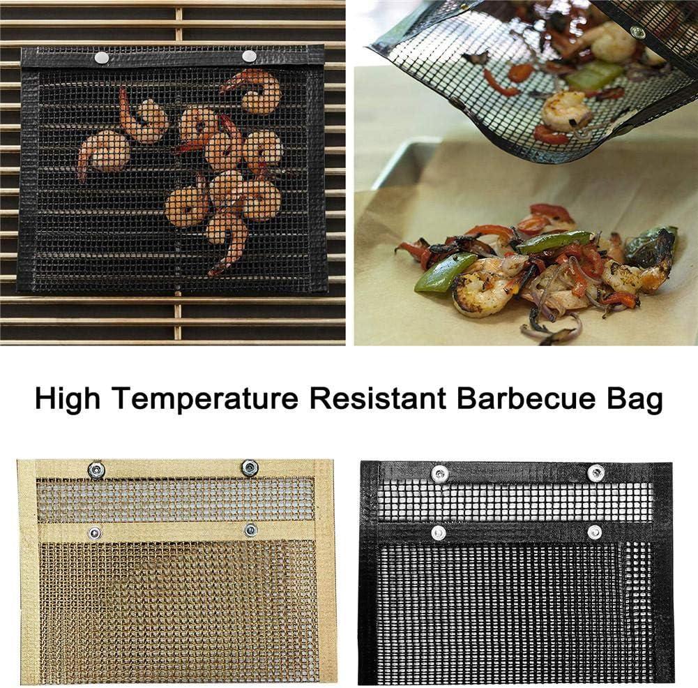 Wiederverwendbare Grilltaschen mit hoher Temperaturbest/ändigkeit f/ür das Picknick im Freien beim Grillen Dreameryoly Antihaft-Grill-Netztasche