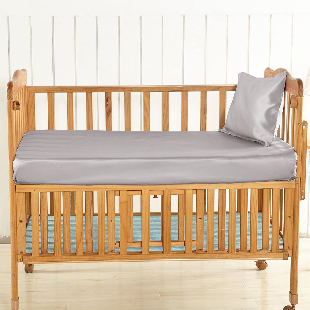 B07DQDB4F2 LilySilk Grey Silk Fitted Sheet Crib for Baby Toddler Organic Ultra Soft, Smooth, Hypoallergenic - Real Pure 19 Momme Silk Bedding for Kids 71VmQaZxNRL