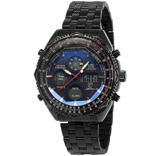 Shark SH116 - Reloj Hombre de Cuarzo, Correa de Acero Inoxidable Negro, Esfera Negra: Amazon.es: Relojes