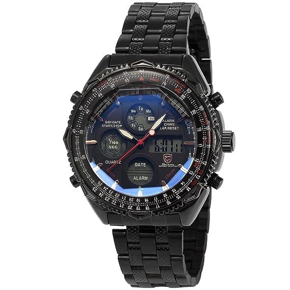 Shark Reloj Hombre de Cuarzo Correa de Acero Inoxidable Negro Esfera Blanca