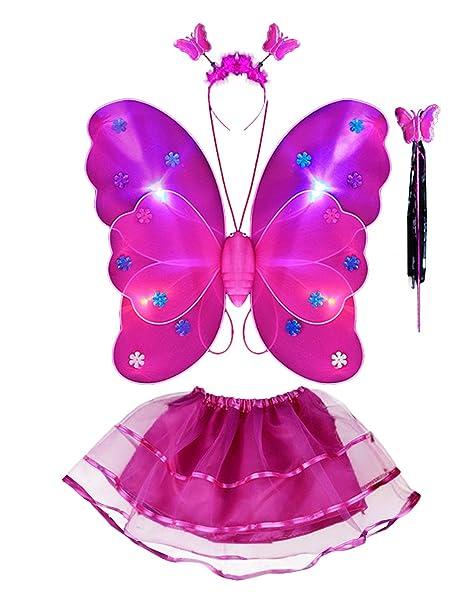 40bf767ff93a Thee costume da elfa o principessina in 4 pezzi a forma di ali di farfalla  con