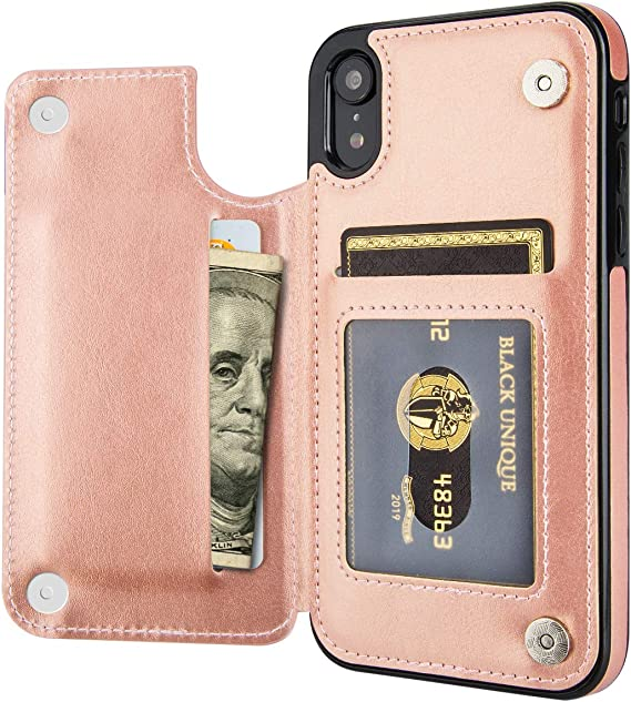 iPhone XR Wallet Case with Card Holder,OT ONETOP Premium PU Leather Kickstand Card Slots Case,Double Magnetic Clasp and Durable Shockproof Cover for iPhone XR 6.1 Inch Rose Gold