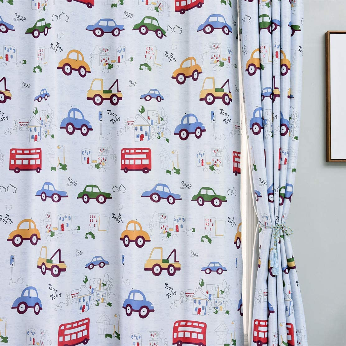 MYRU 2 Panels Set Cars Cartoon Curtains 63 Inch Length Semi Blackout Curtains for Kids Room 2 x 39 x 63 Inch, Cartoon Cars