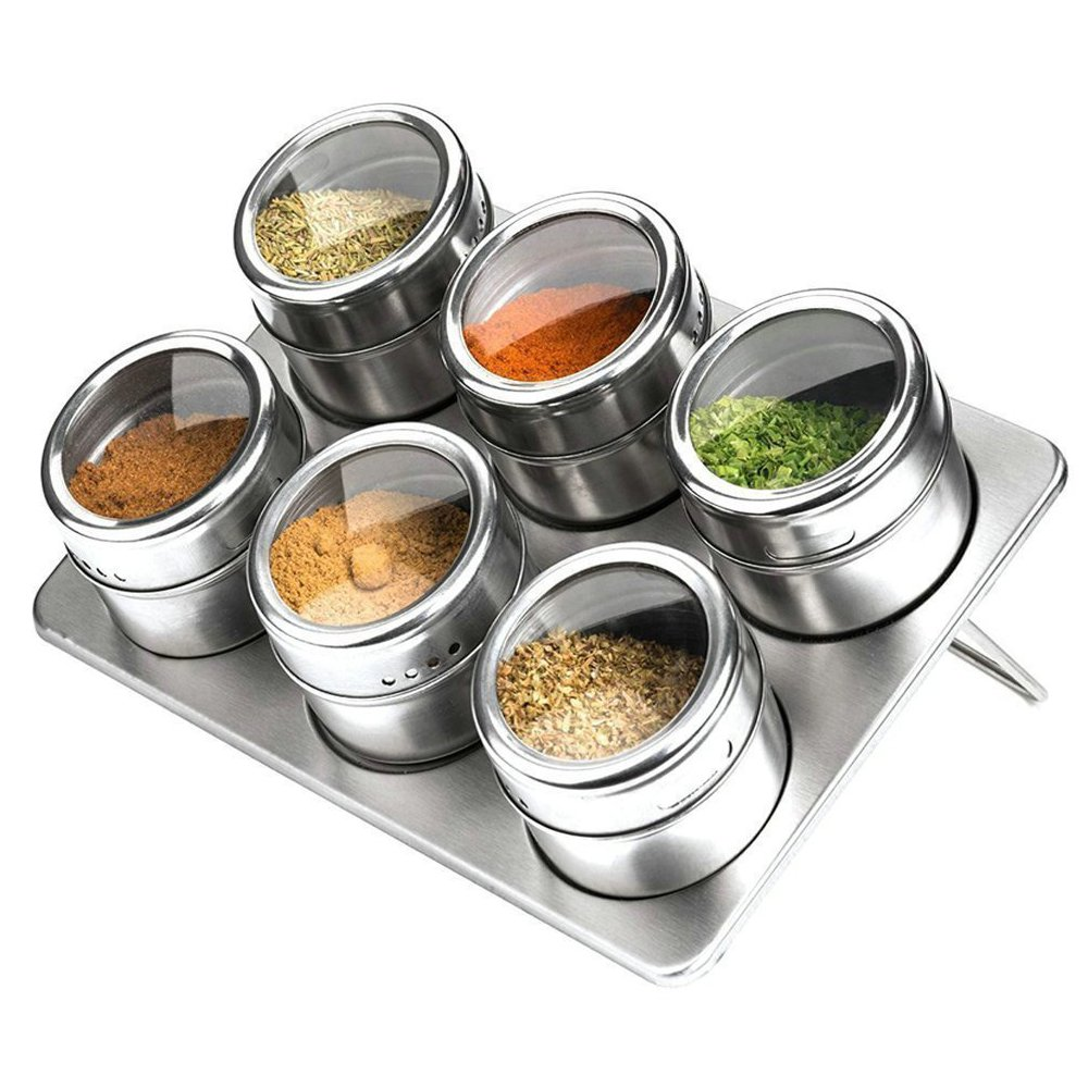 6 Piece Spice Jar Colorful Seasoning Box Kitchen Condiment Storage Container with Tray and 2 Kinds of Outlet Holes Xuanlan
