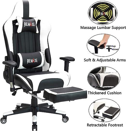 Silla ergonómica para juegos con reposacabezas y soporte lumbar ...
