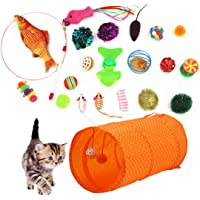 LOCHING Cat Toys Set 22Pcs Kitten Toys Assortments 2 Way collapsible Cat Tunnel Cat Feather Teaser Wand Interactive Feather Toy Fluffy Mouse Fish Ball Crinkle Balls for Cat Puppy Kitty Kitten