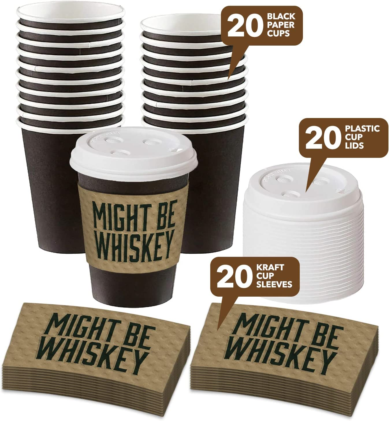 Amazon Com Disposable Coffee Or Hot Chocolate Cups Black Cups Lids And Might Be Whiskey Kraft Sleeves 12 Ounce 20 Count Kitchen Dining