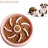 Pets Dog Bowl Slow Feeder Blue 20cm Diameter Healthy Eating Hunting Reduce Overeating Bloating Vomiting for Wet Dry Raw Food and Water