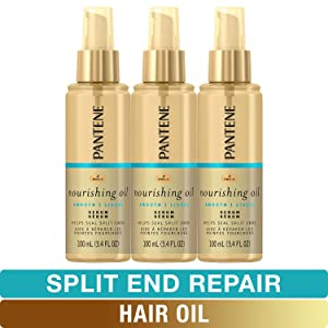 Pantene Hair Oil Treatment Serum, Pro-V Lightweight Nourishing Split End Repair, 3.4 Fl Oz, Triple Pack