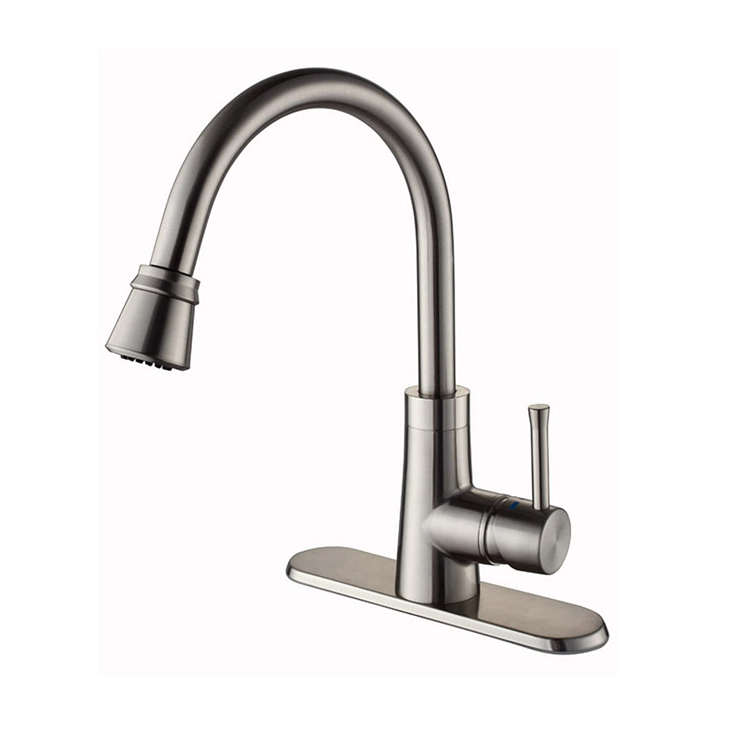 CLEANFLO 88808-90,Dancer Kitchen Faucet,1 or 3 Hole Installation, High 15.3 INCH-Arc Spout ,Flexible Spout 360 , Patented Design,Inlet Nylon Braided Hose, Non Corrosive, Lead-Free, Chrome Black