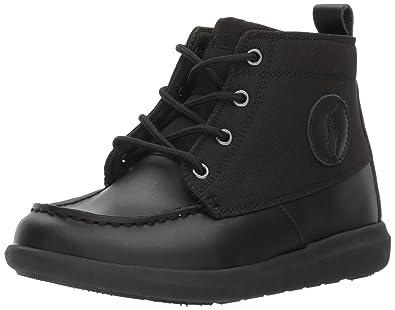 Polo Ralph Lauren Kids Boys\u0027 Ranger Sport Fashion Boot, Black Burnished  Leather Black Nylon