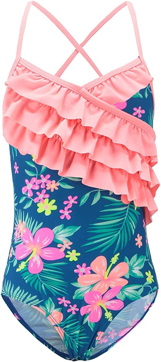 Moon Tree Girls One Piece Swimsuit Ruffle Swimwear Beach Bathing Suit 2-14 Years