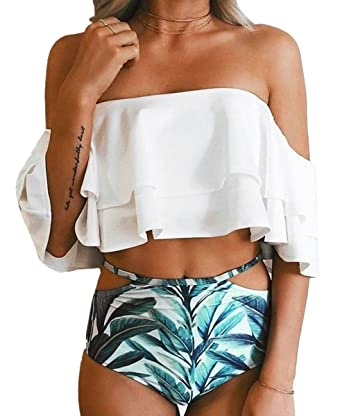 991e0c1489d Amazon.com  Women Two Piece Off Shoulder Ruffled Flounce Crop Bikini Top  With Print Cut Out Bottoms  Clothing