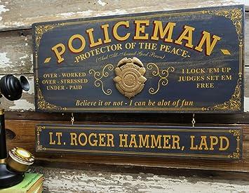 Amazon.com: Policeman Cartel Profesión de tablas de madera ...
