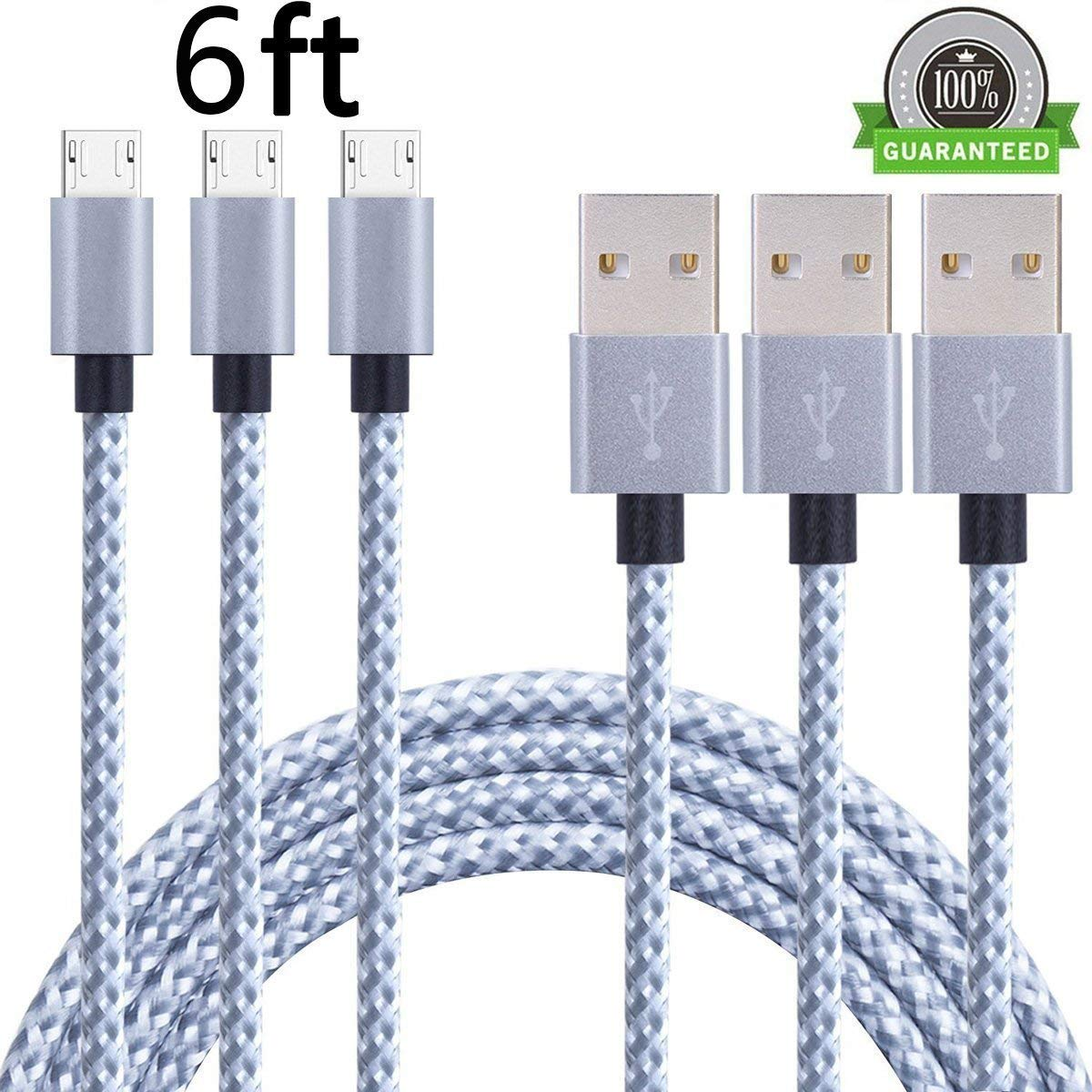 HTC and More Nokia Android 2Pcs Samsung Galaxy Asstar Universal Micro USB Cable 2.0 Nylon Braided 3ft Extra Long USB Charging Cable for Android Motorola 2Pcs 3ft