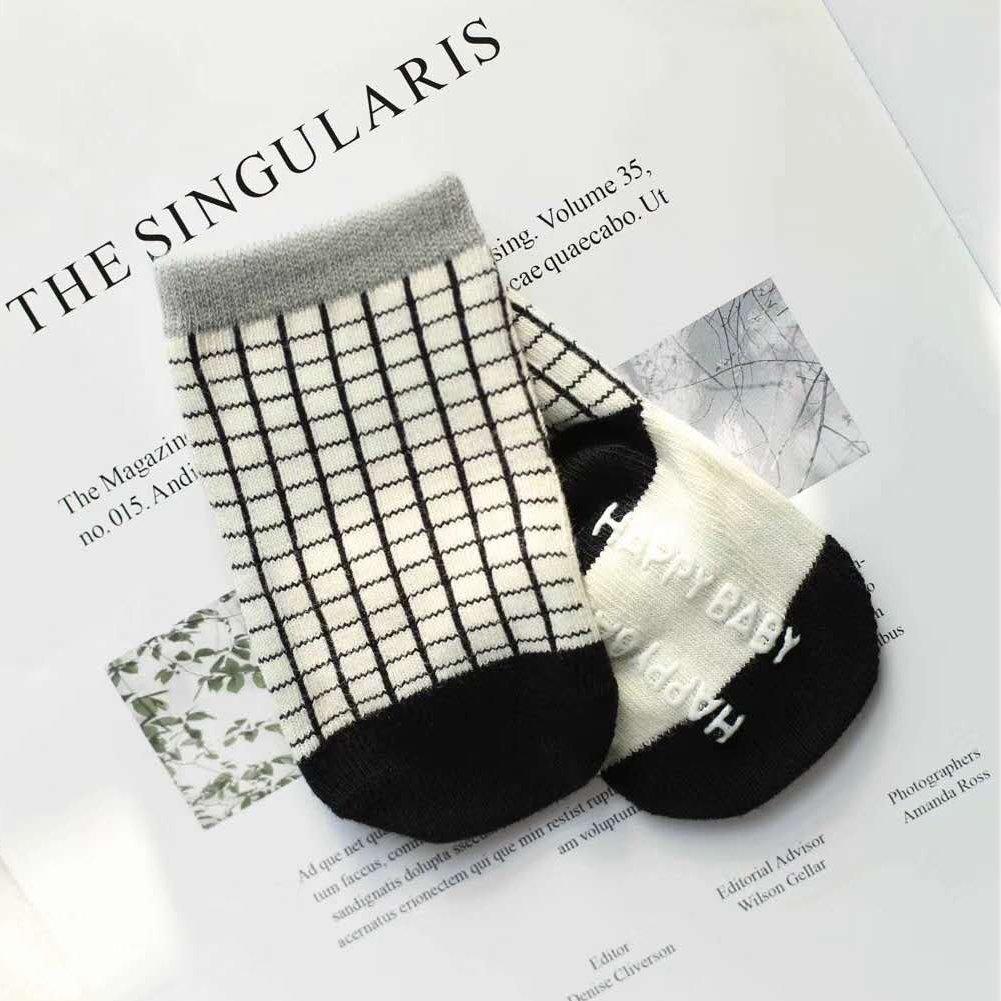 KoolHour 6 Pack Unisex Newborn Socks Baby Non Skid Anti Slip Combed Cotton Crew Socks for 0-12 Months Toddler Boys Girls