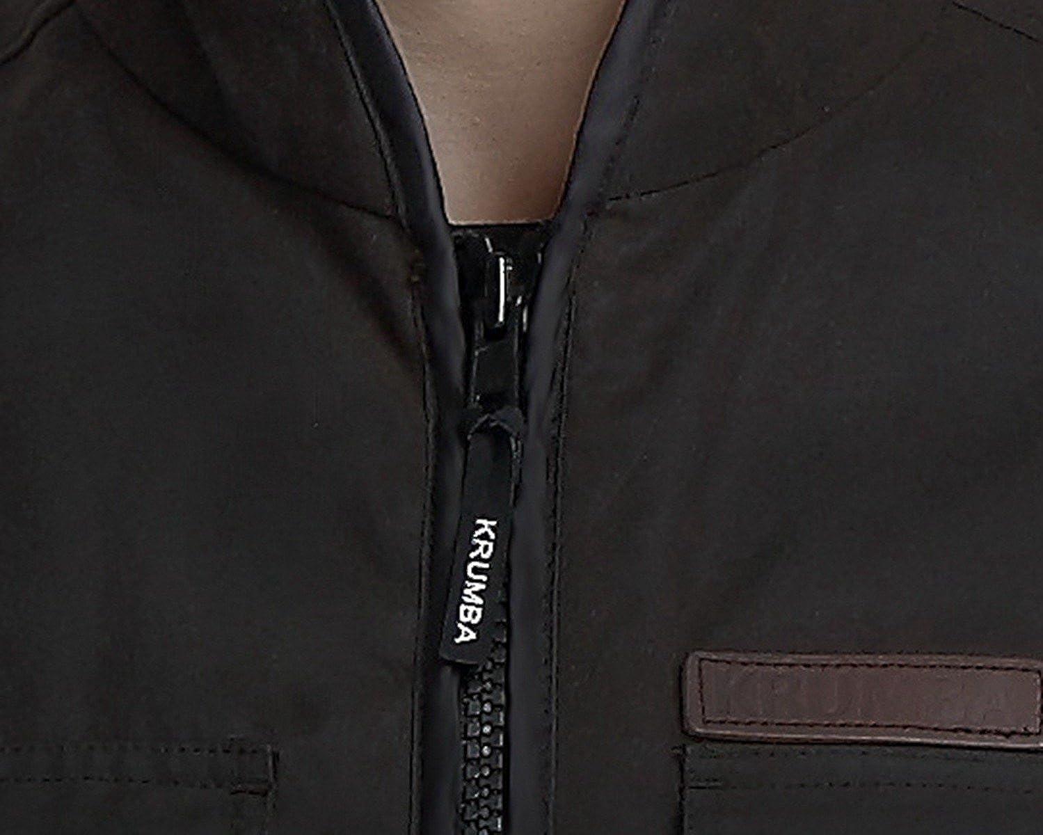 Krumba Mens Outdoor Fleece Lined Brown Oilskin Vest Two Way Zipper