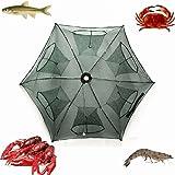 Portable Folded Fishing Net Fish Shrimp Minnow Crayfish Crab Baits Cast Mesh Trap automatic, Easy Use Hexagon 6 Hole Cage Crab Fish Minnow Crawdad Shrimp