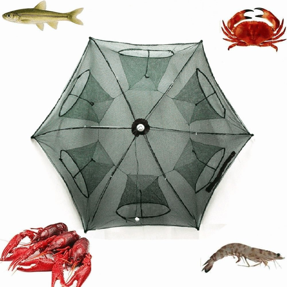 Portable Folded Fishing Net Fish Shrimp Minnow Crayfish Crab Baits Cast Mesh Trap automatic , Easy Use Hexagon 6 Hole Cage Crab Fish Minnow Crawdad Shrimp (6 sides 12 Holes)