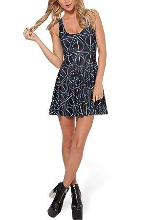4da39968bfa30 Lady Queen Women's Harry Potter Deathly Hallows Scoop Skater Dress Clubwear  Ball Party Skirt