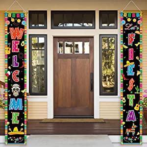Allenjoy Let's Fiesta Door Banner for Party Decoration Flag Cinco de Mayo Carnival Mexican Theme Welcome Hanging Wall Porch Sign Outdoor Indoor Polyester 11.8x70.9 Inch Home Event Decors Supplies 2PCS