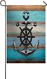 USOPHIA Garden Flag Double Sided Nautical Anchor Hand Drawing Boating Sketch Rustic Wooden Planks Welcome Yard Outdoor House Flag Banners Home Décor 28 X 40 Inch