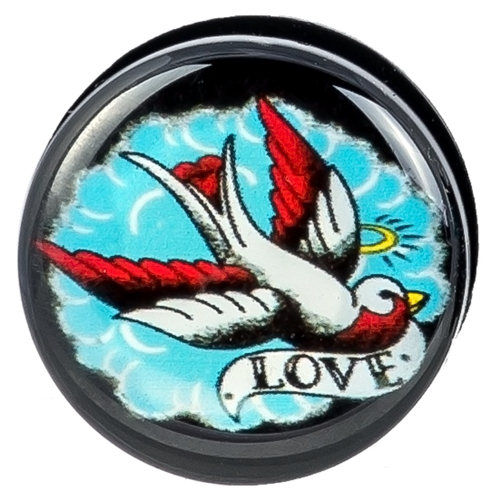 Screw Fit Black Acrylic Sparrow LOVE /& HATE Message Ear Plugs New Arrival