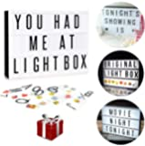 DIY Marquee Light Up Message Light Box Complete Set | 265 Tiles All in One Kit Including Emojis, Colored Letters & Numbers | USB or Battery Powered | Gift Wrap Available