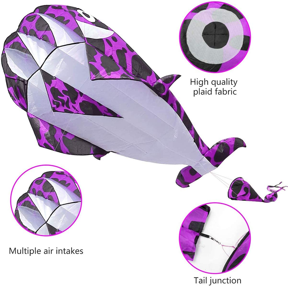 MAYY Lamonty 2 Pack Kites Large 3D Purple Spoted Dolphin Kite and Green Octopus for Children and Adult with Long Colorful Tail String Line Accessories Easy to Soar High Outdoor Sports