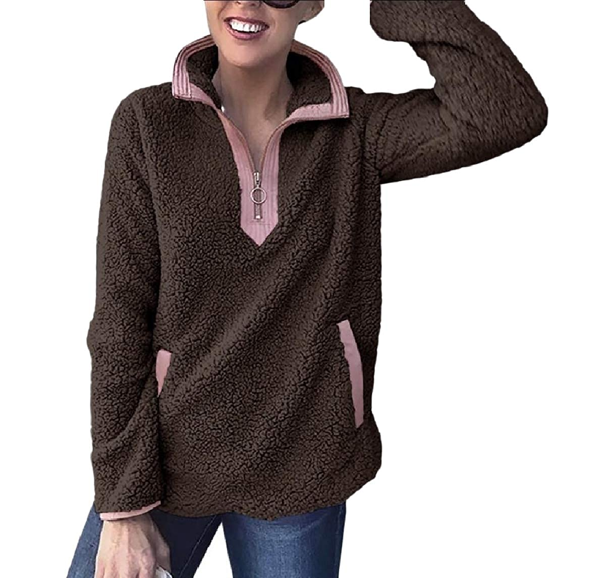 RDHOPE-Women Shaggy Fall Plus Size Soft Warm Casual Sweatshirts Blouse