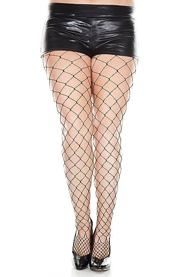 bf35ee15990ac MUSIC LEGS Women's Plus-Size Seamless Fence Net Spandex Pantyhose, Black,  One Size
