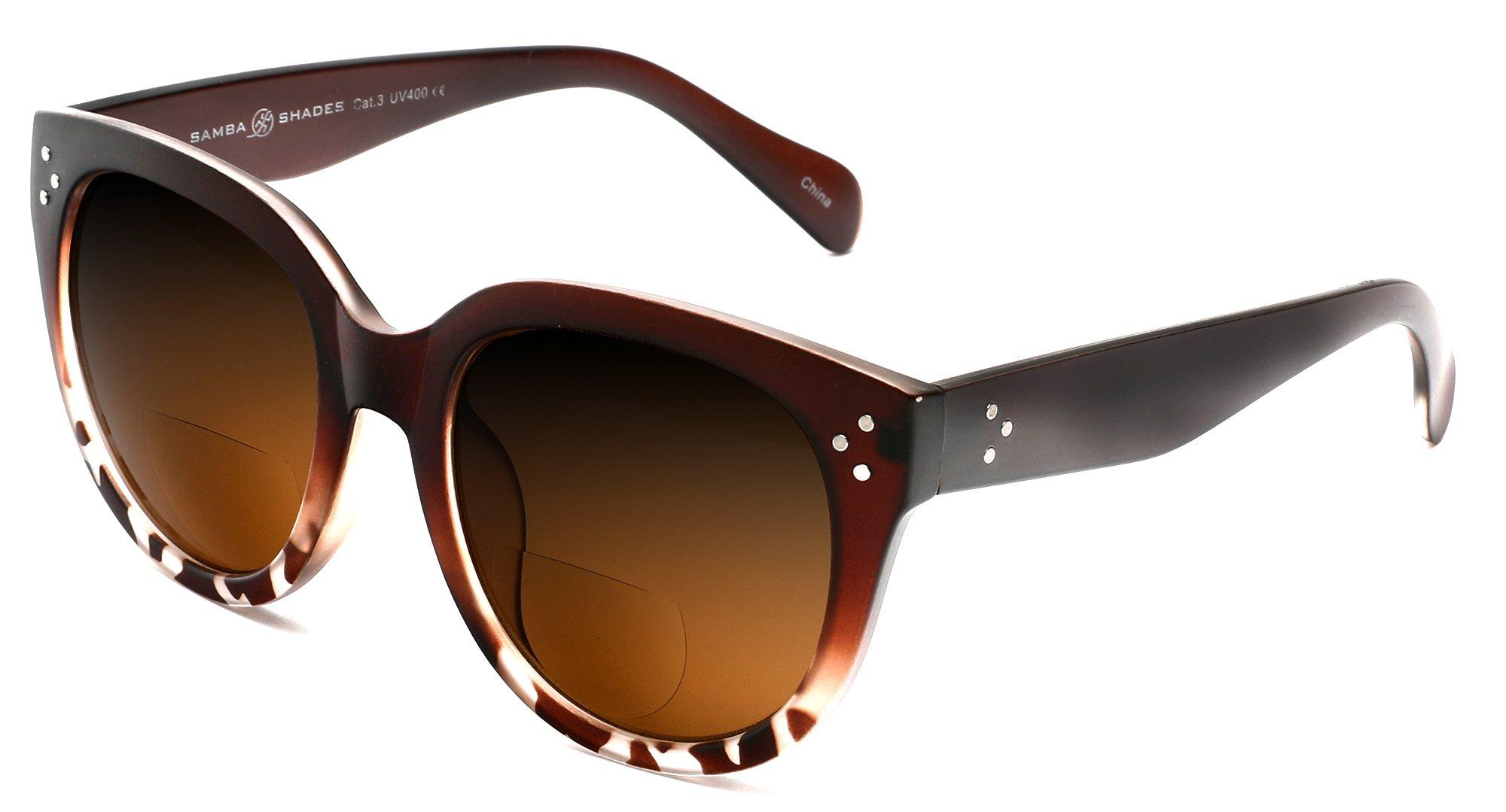 Samba Shades Bi-Focal Sun Readers Oversized Round Audrey Hepburn Sunglasses Matte Dark Brown 2.50 Power