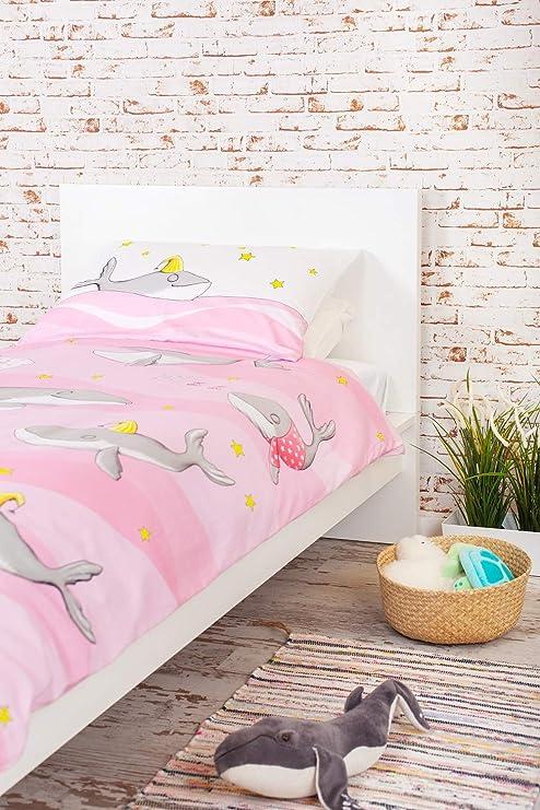 Bio-Baumwolle und Fairtrade-zertifizierte Bettw/äsche f/ür Kinderzimmer OceanBluu Bettbezug-Set Einzelgr/ö/ße
