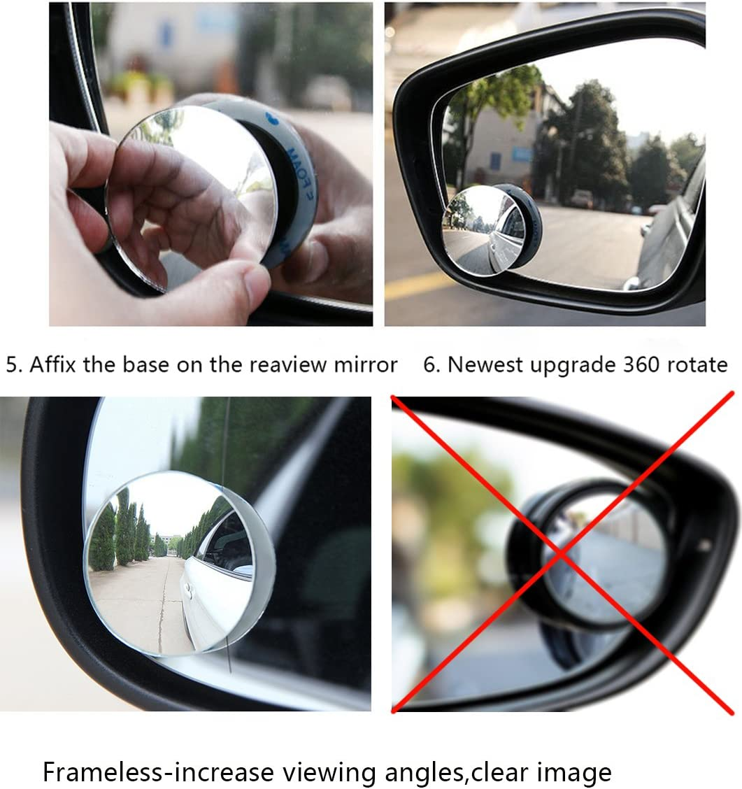Pack of 2 Stick-on Rearview Frameless Convex Side Rear View Mirrors kit for Cars /& SUV Trucks Snowmobiles 360 Degree Adjustable Wider Angle Image for Traffic Safety TIDO Blind Spot Mirror