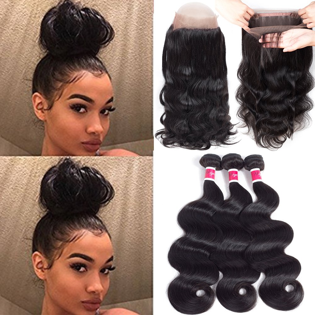 Wigirl Hair 8A Grade 360 Lace Frontal Closure With Bundles Brazilian Body Wave Virgin Hair Bundles With 360 Lace Frontal Unprocessed Human Hair With Frontal (16 18 20 With 14)