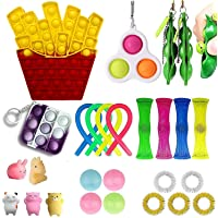 Fidget Toy Packs,Early Educational Sensory Fidget Toys Set, Anxiety Tube Fidget Block Set,Fidget Set Sensory Relieves Stress Anxiety for Kids Adults,Stress Reduction and Anti-Anxiety Tools (H)