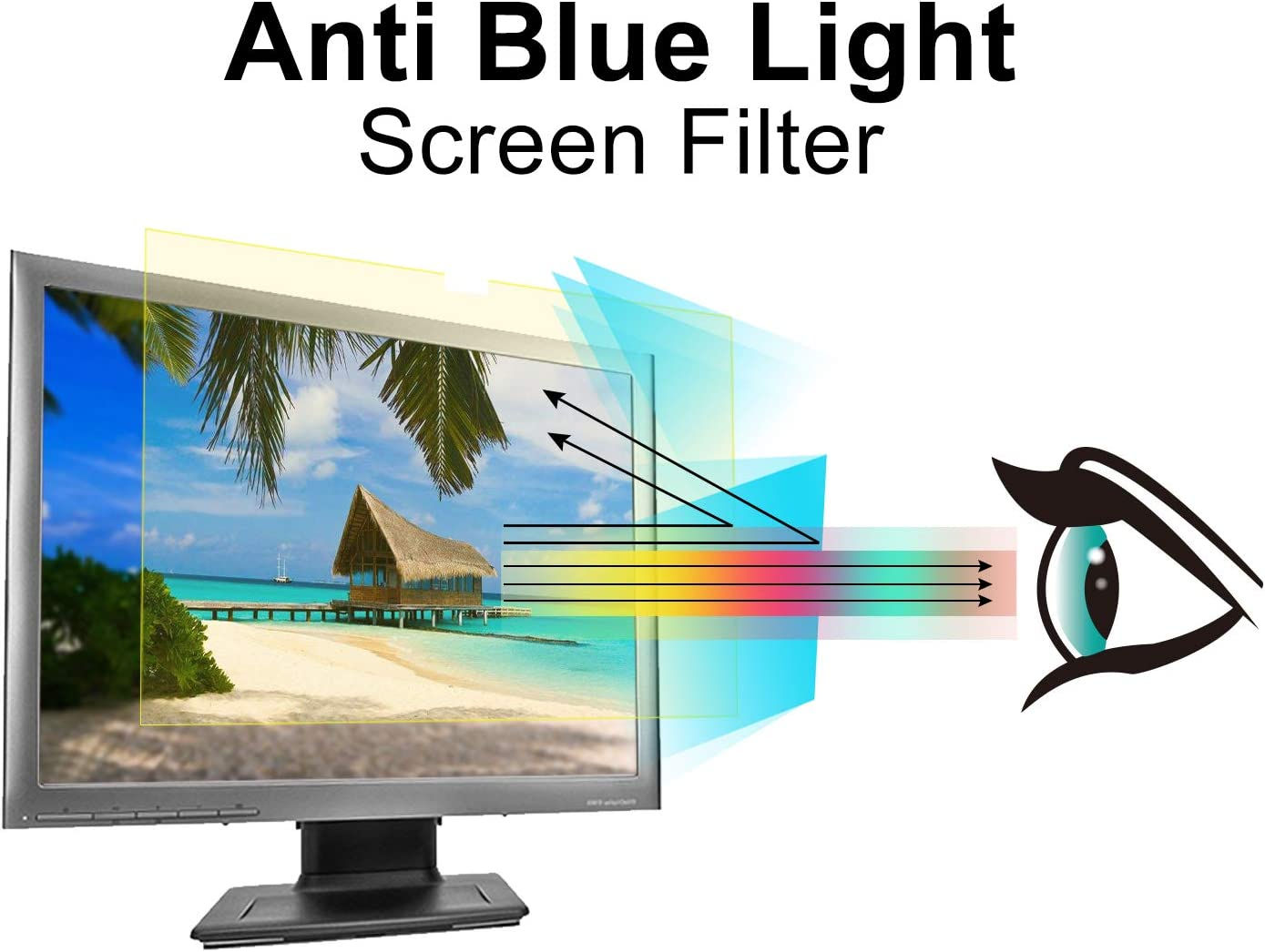 NUSIGN 24 inch Easy Hang Blue Light Blocking Screen Protector Panel For 23 23.6 W 21.26 X H 13.4 Widescreen Monitor Frame Hanging Type 23.8 24 inch Diagonal Desktop Computer LED PC Monitor- Anti-UV Eye Protection Filter Film