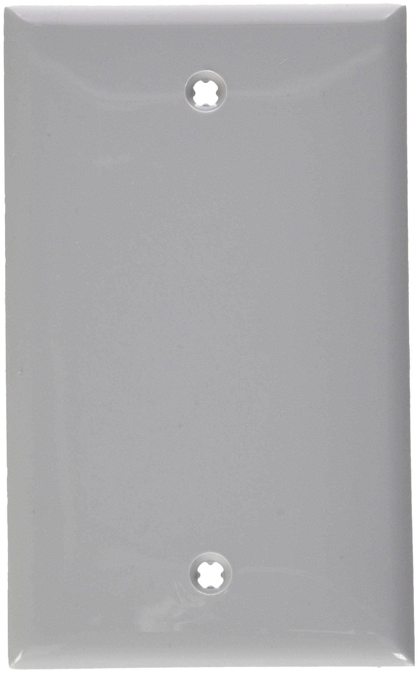 Leviton 80714-GY 1-Gang No Device Blank Wallplate, Standard Size, Thermoplastic Nylon, Box Mount, Gray, 25-Pack
