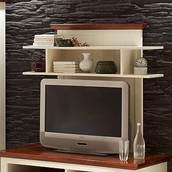 Markwellmöbel Tv Fernseher Aufsatz Riesa Holz Antik Weiß Cognac