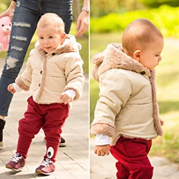 Nopeak Toddler Baby Fleece Hooded Jacket,Infant Warm Zipper Up Coat Winter Outwear Sheraring Jacket for Boys Girls