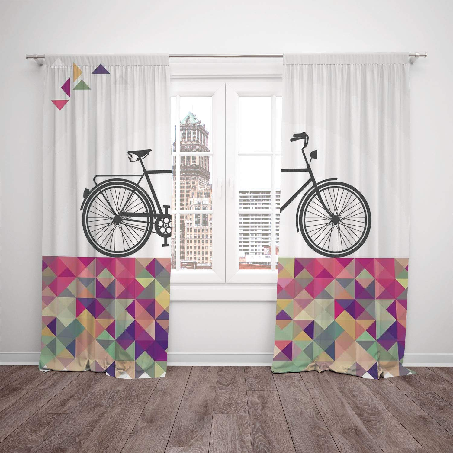 Thermal Insulated Blackout Window Curtain,Geometric,Vintage Style Bike Over Multicolor Diamond Shaped Backdrop Triangles Hipster,Multicolor,Living Room Bedroom Kitchen Cafe Window Drapes 2 Panel Set