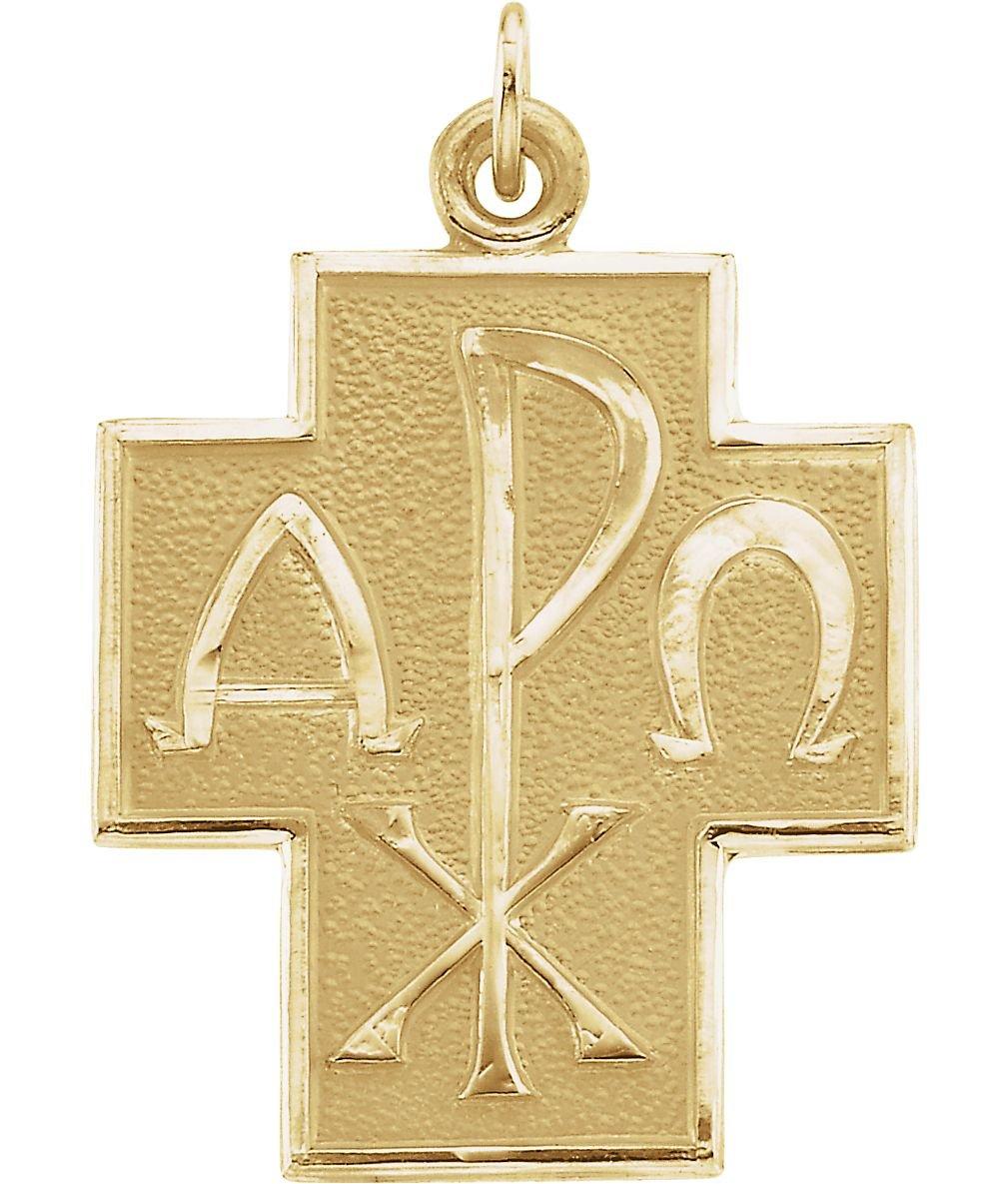 14k Yellow Gold Alpha Omega Chi-Rho Cross