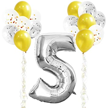 KUNGYO 5TH Birthday Party Decorations Kit Giant Silver Number 5 Foil Balloon Gold