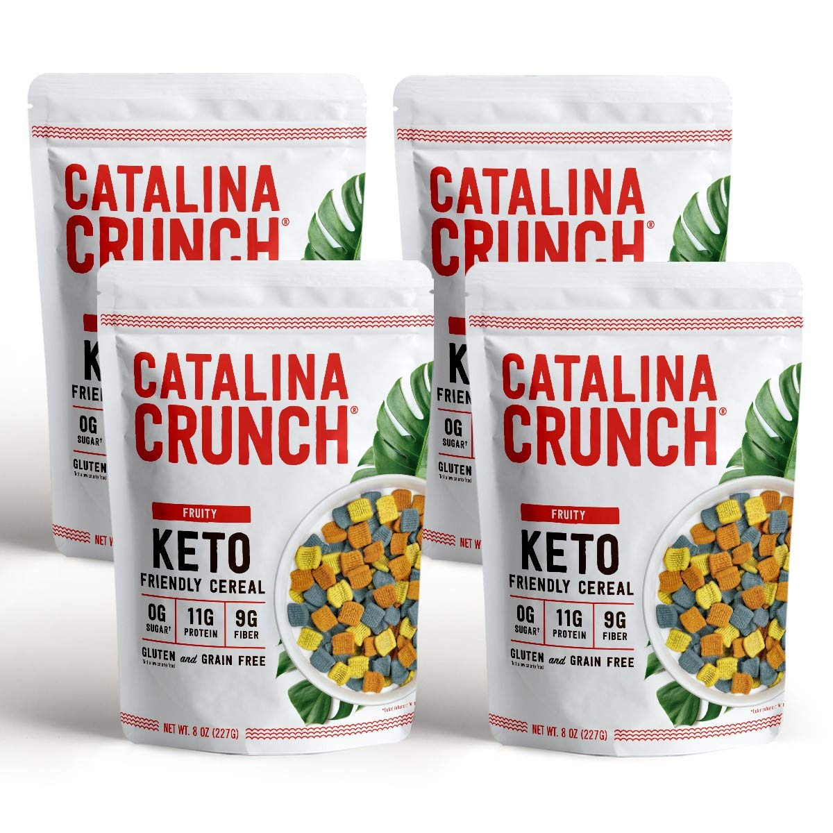 Catalina Crunch Fruity Flavor Keto Cereal (4-Pack): Keto Friendly, Low Carb, Zero Sugar, Plant Protein, High Fiber, Gluten & Grain Free