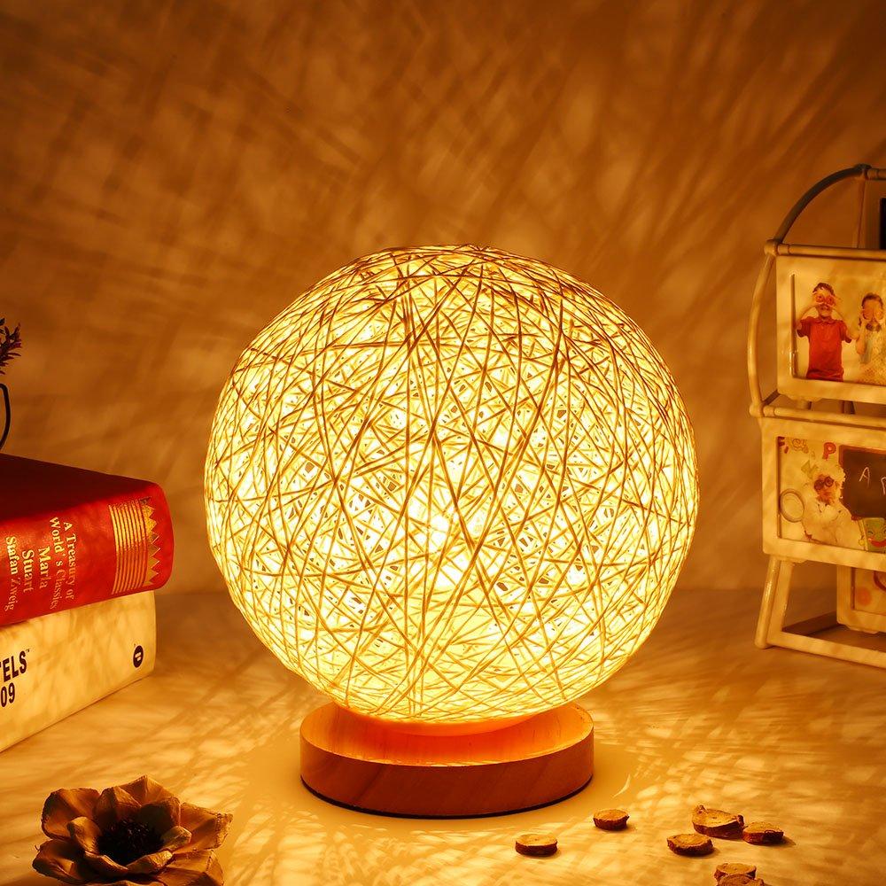 Ardux Nachttischlampe, Rattan-Ball, Nachtlicht